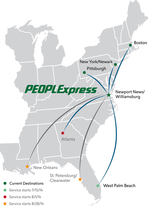 PEOPLExpress RouteMap