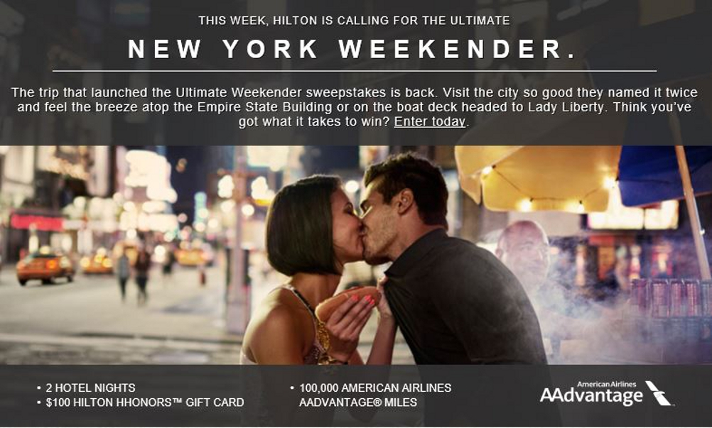 Ultimate Weekender New York Travel Sweepstakes by Hilton