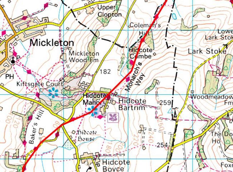 Monarch's Way Passing through Hidcote