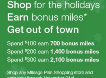Alaska Airlines Holiday Shopping Miles Bonus