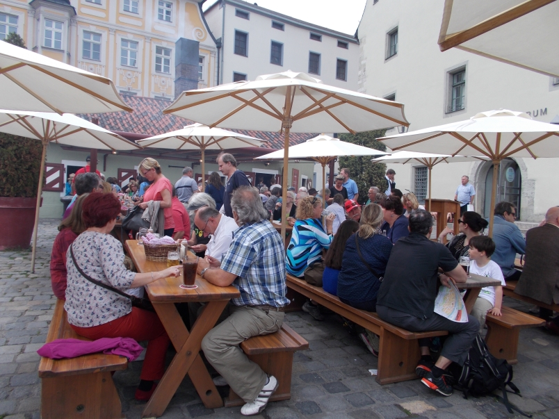 Waiting for a Table at Wurstkuchl Regensburg