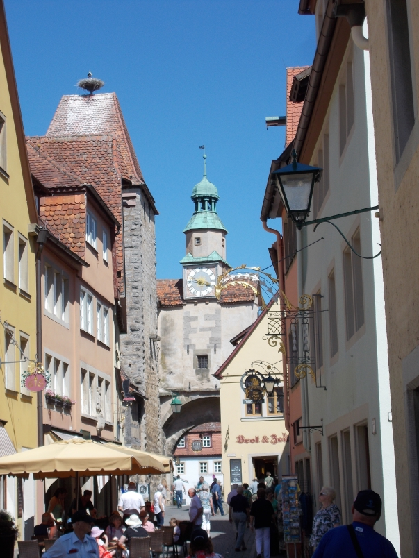 A Stork Keeps Watch over Rothenburg Tourists