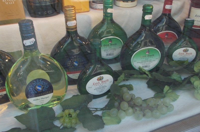 Distintive Wine Bottles of Wine Produced in Franconia
