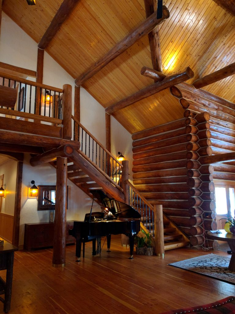 grand river lodge piano and stairs