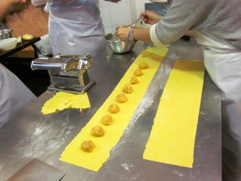 Italy - pasta lined with potato mixture