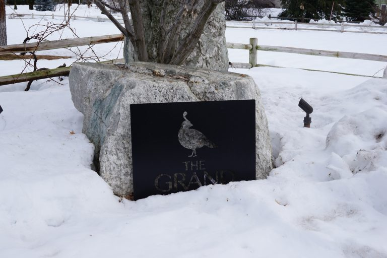 The Grand river lodge sign