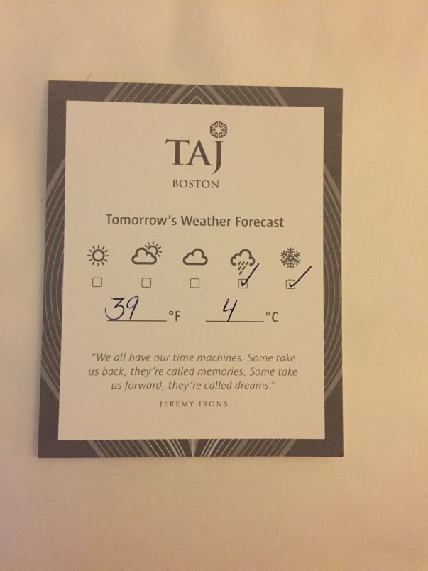 weather and in room dining