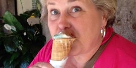 Connie Pearson enjoying gelato