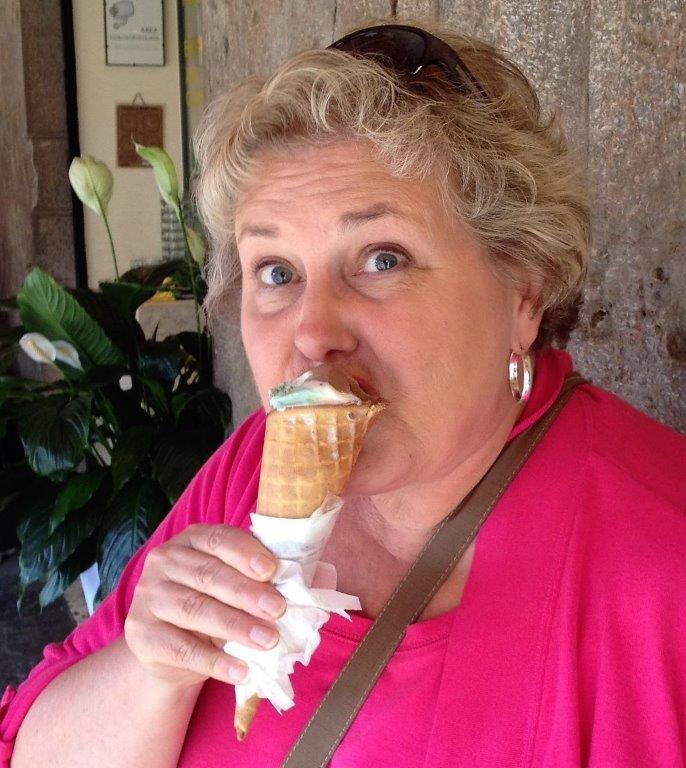 Connie Pearson enjoying gelato