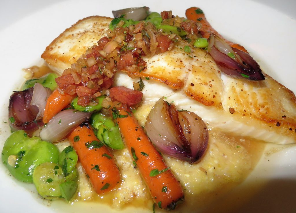 Alaskan Halibut with Grits Highlands Bar and Grill
