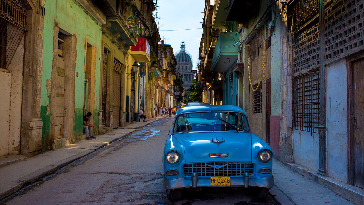 Old American car in Havana
