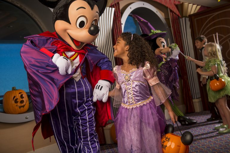 Disney Cruise Line will treat guests sailing this fall to a wickedly good time as the Disney ships transform into a ghoulish wonderland during Halloween on the High Seas cruises. This extra-spooky celebration features Halloween-themed parties, lively entertainment, elaborate décor, and frightfully fun events and activities. (Matt Stroshane, photographer)