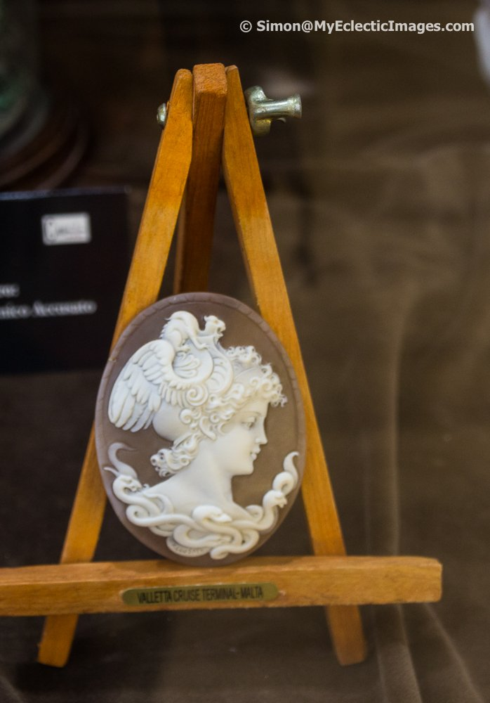 An intricately carved cameo on display in Il Piccolo Museo del Cameo