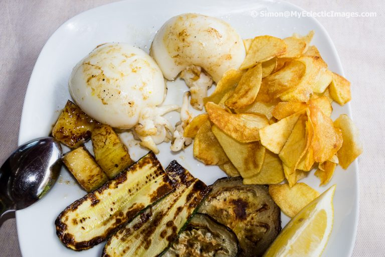 Cuttle Fish with Grilled Vegetables and Homemade Potato Chips
