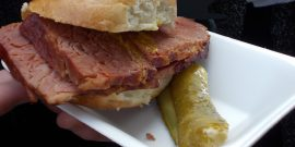Salted beef with hot mustard and sweet gherkin on a soft beigel from Beigel Bake London