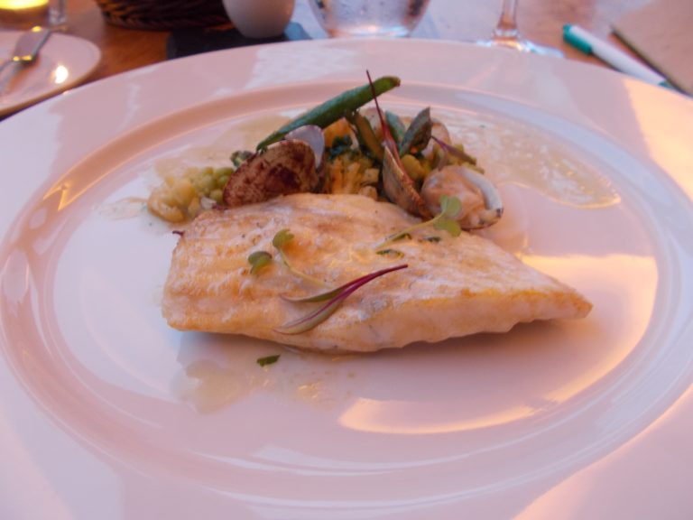 Turbot Sauteed in a Chowder of Clams and Market Vegetables