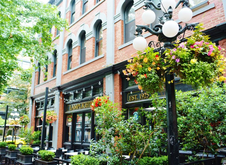 Brick buildings and Flowers in Gastown