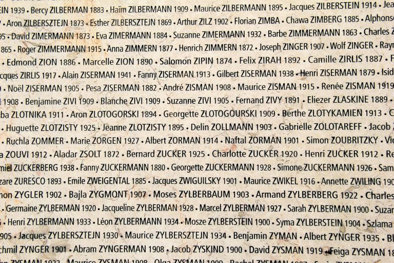Names - Holocaust Memorial de la Shoah
