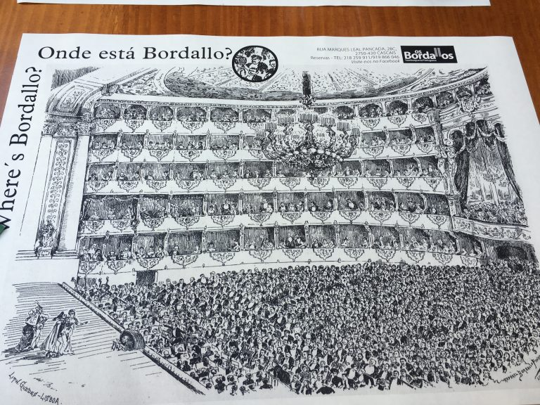Placemat at Os Bordellos in Cascais Portugal