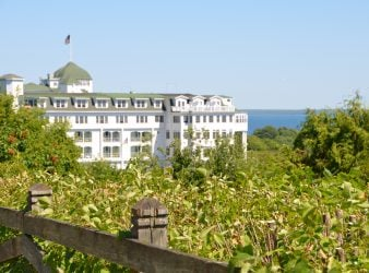 Grand Hotel on Mackinac Island from the Bluffs - A Mackinac Island Resort