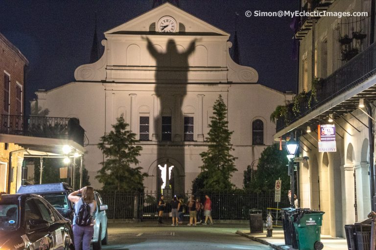 The Image of Christ Projected on Cathedral Wall in Haunted New Orleans