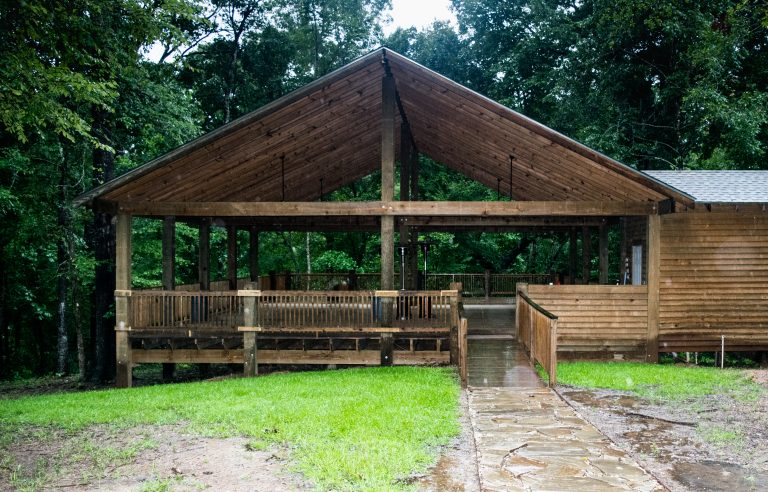 Party pavilion available for groups or cabin guests at Cabins of Horseshoe Hills Ranch