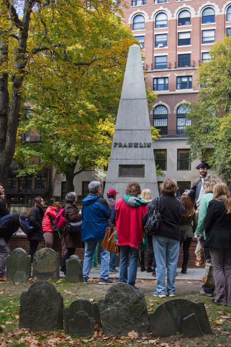 Benjamin Franklin cenograph in Granary Burying Ground Freedom Trail