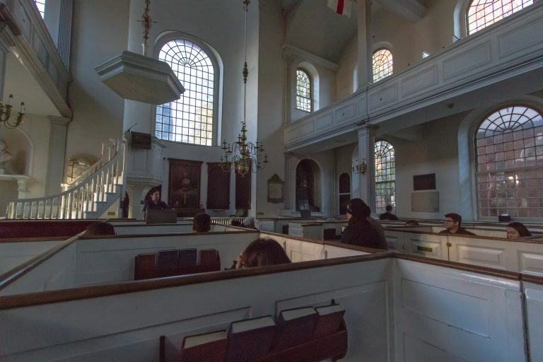Box pews inside Old Church Freedom Trail Boston