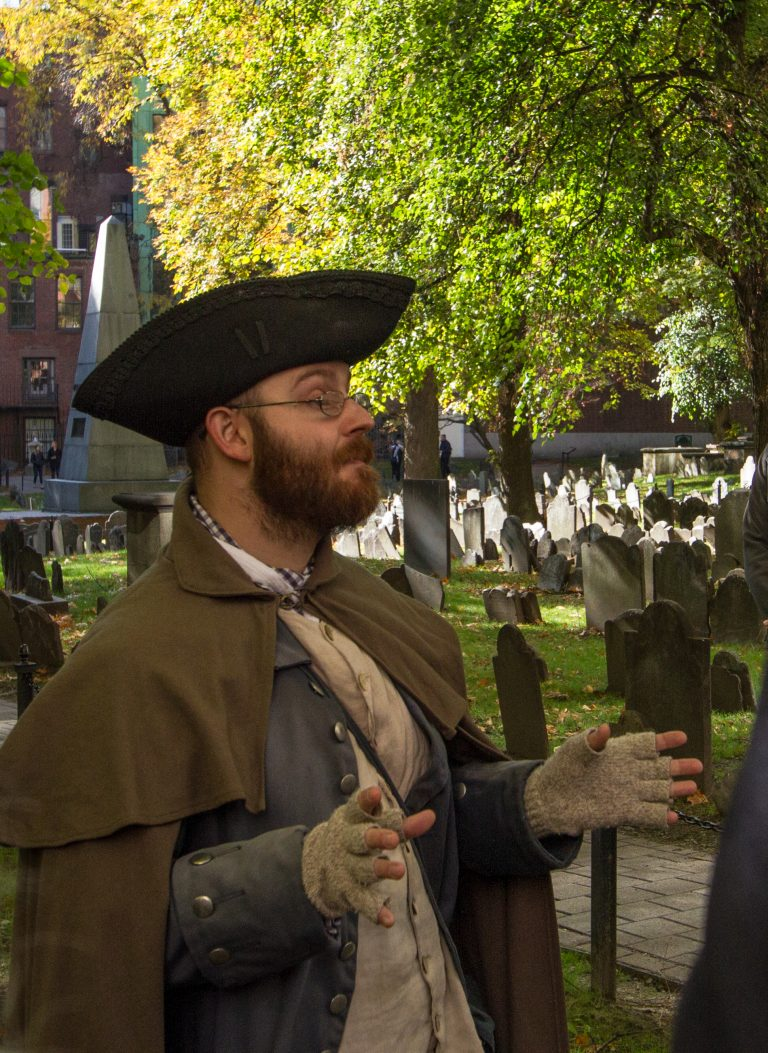 Gary Petersen as William Molineaux at Granary Burying Ground