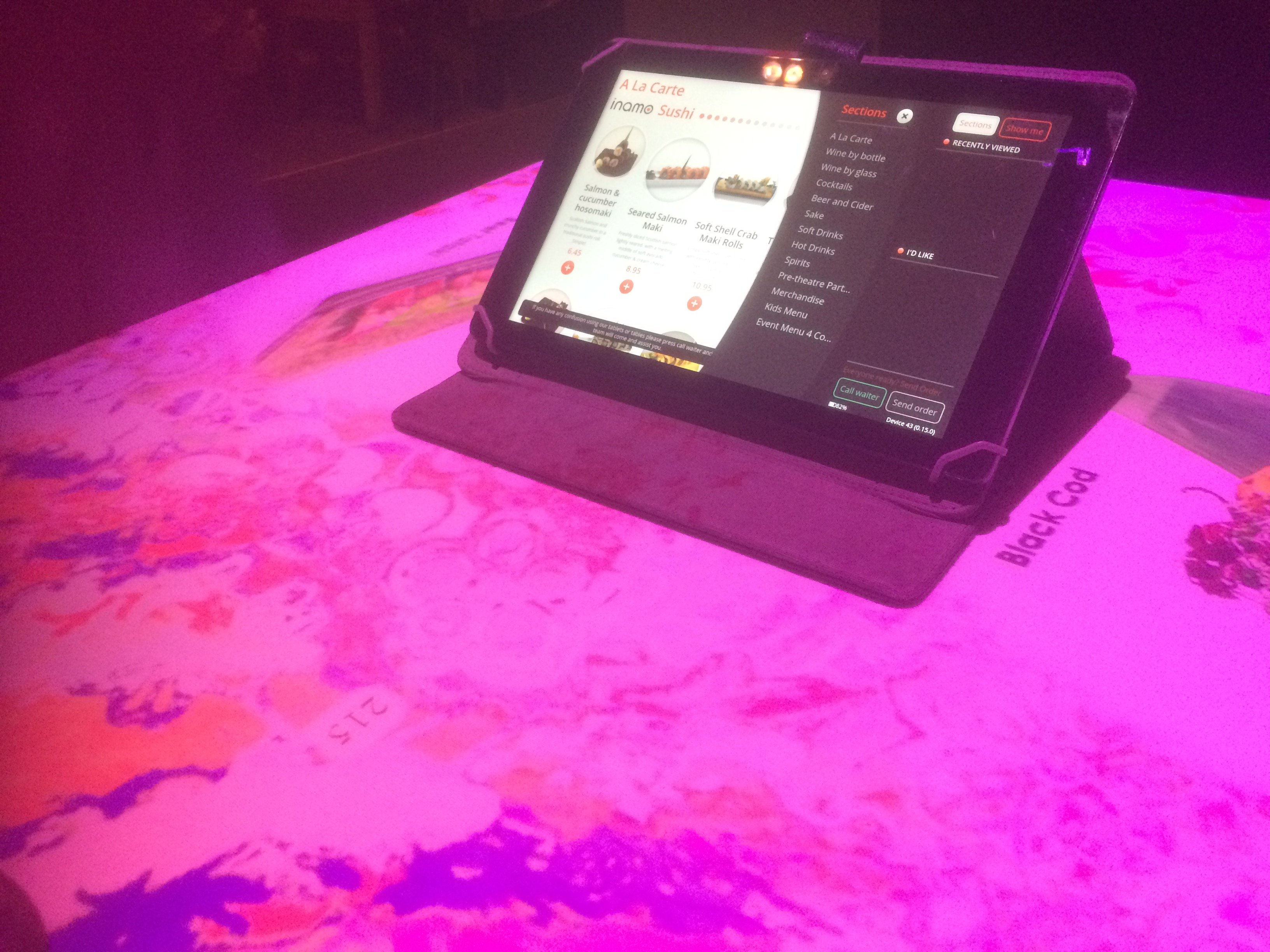 Order by Tablet at Inamo Restaurant
