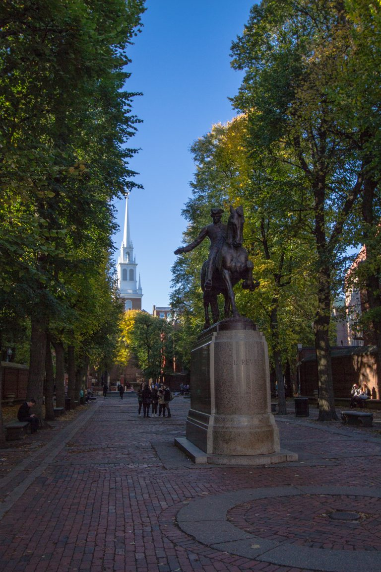 Paul Revere Statue with Old Church Steeple in background Boston History
