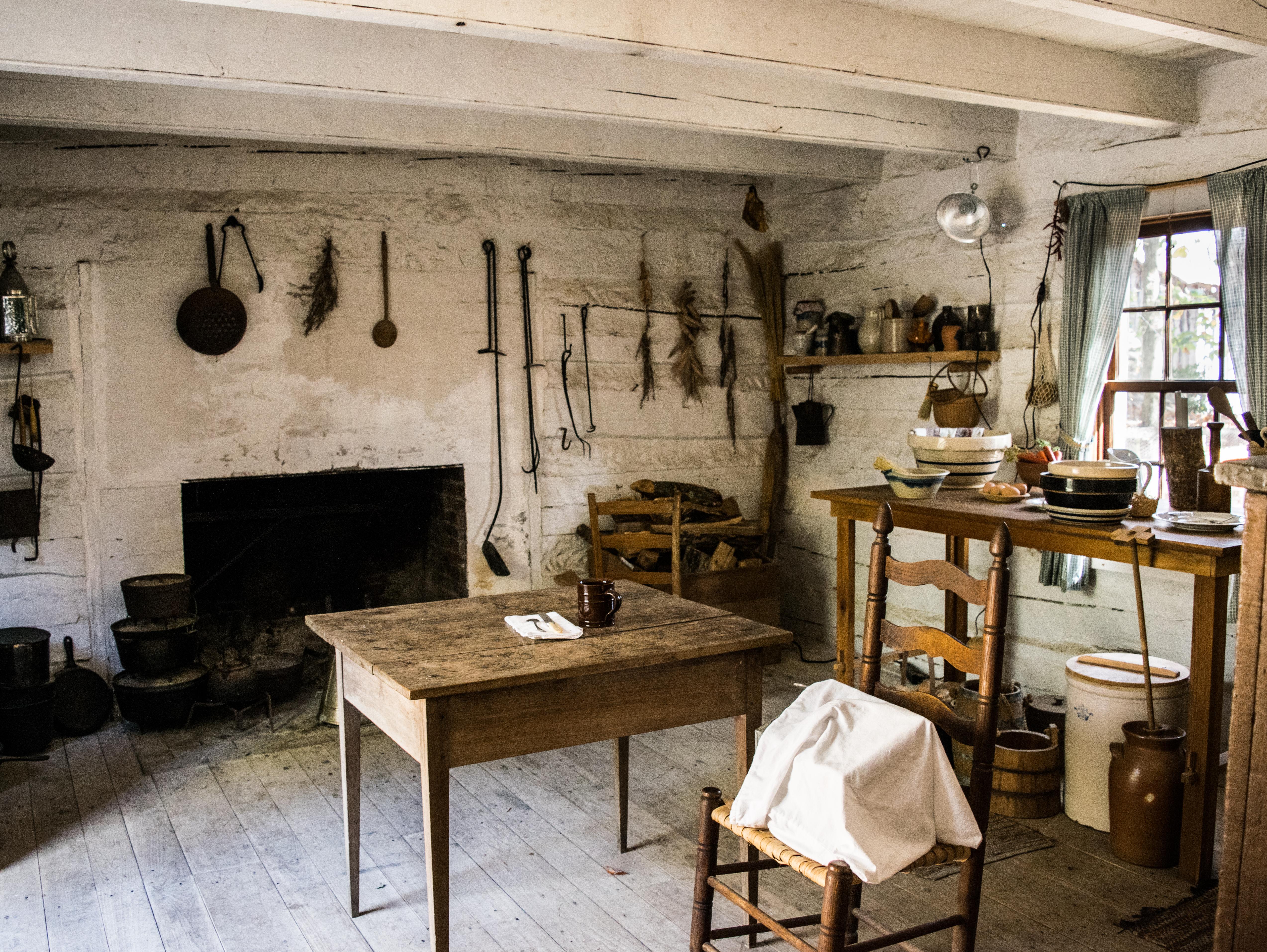 Interior of a Historic Cabin Burritt on the Mountain