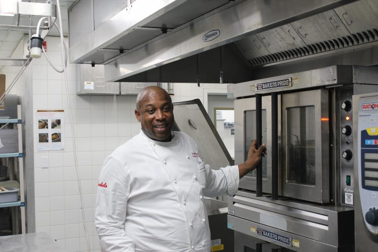 Chef Desmond Marshall at work - Sandals Barbados