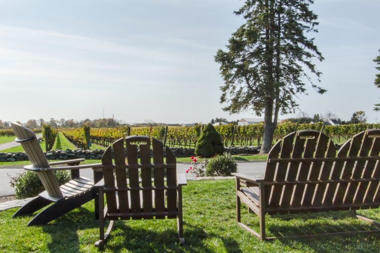Seating outside of Newport Vineyards Cafe and Tasting Room