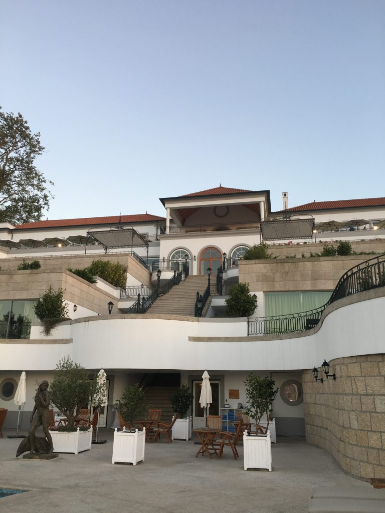 Looking up at Yeatman Hotel from back lawn