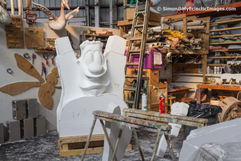 Carving a new figure in Mardi Gras World New Orleans