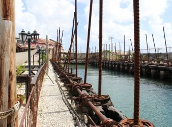 The dry dock of Blackwoods Screwdock in Bridgetown