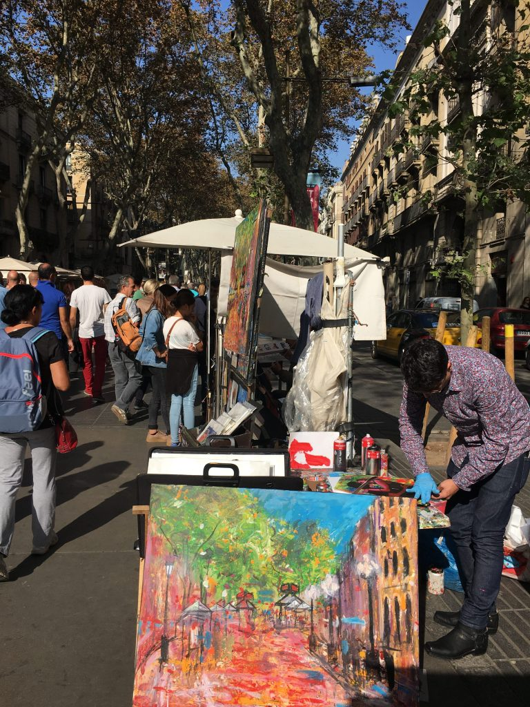 Art of Las Ramblas in Barcelona