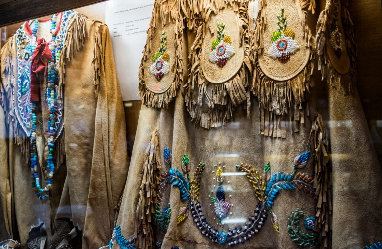 Hand-made beaded garments Oakville Indian Mounds