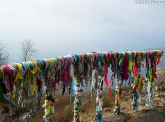 Prayer Ribbons on Overlook Railing at Chersky Stone