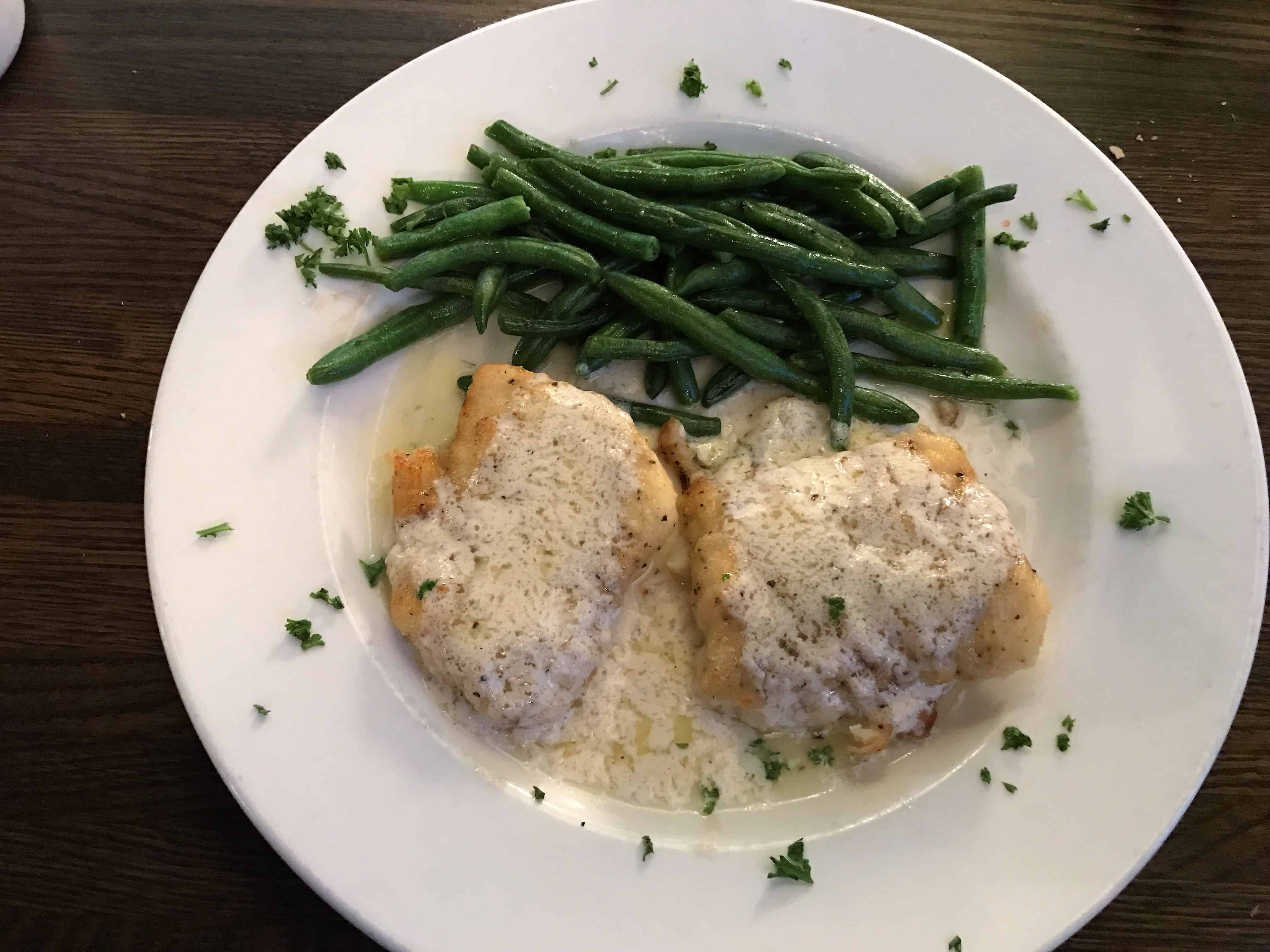 Terranova's cod loins baked with parmesan cheese