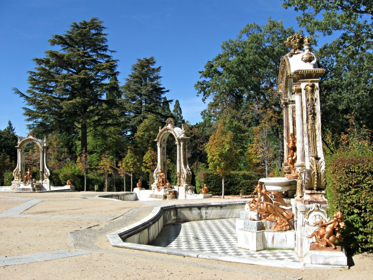 Trio of fountains Royal Gardens of La Granja