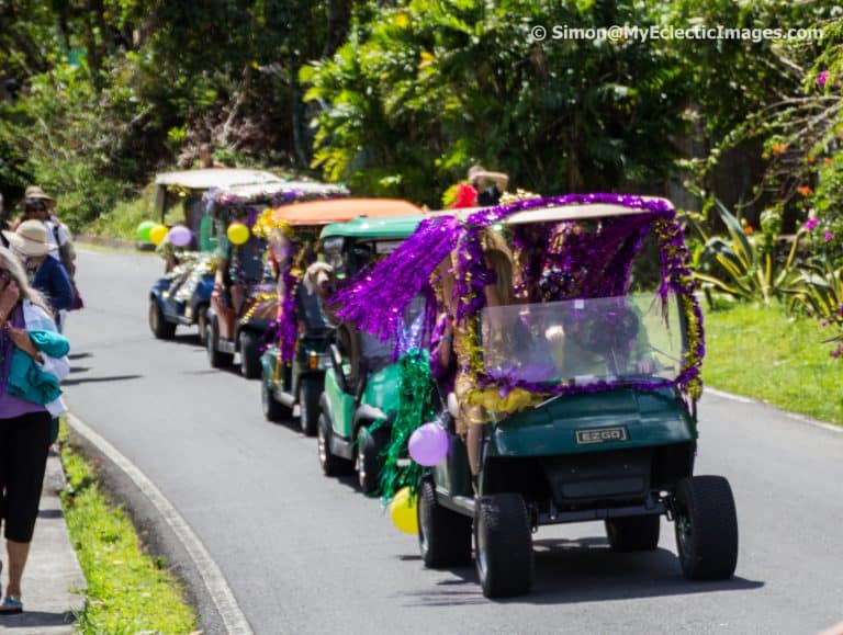 Decorated Golf Carts Boquete Jazz and Blues Festival Parade