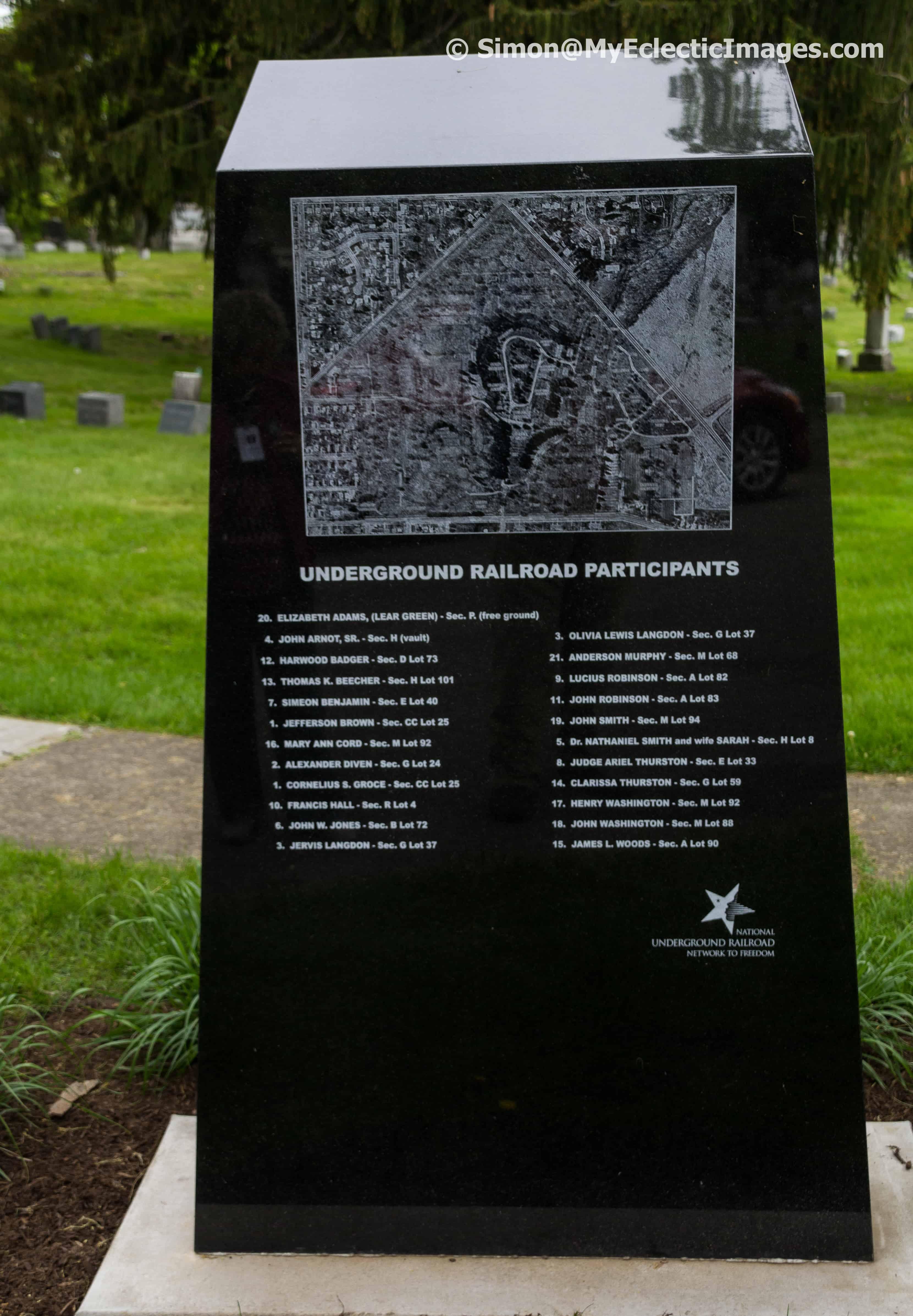 Marker for Underground Railroad Woodlawn Cemetery