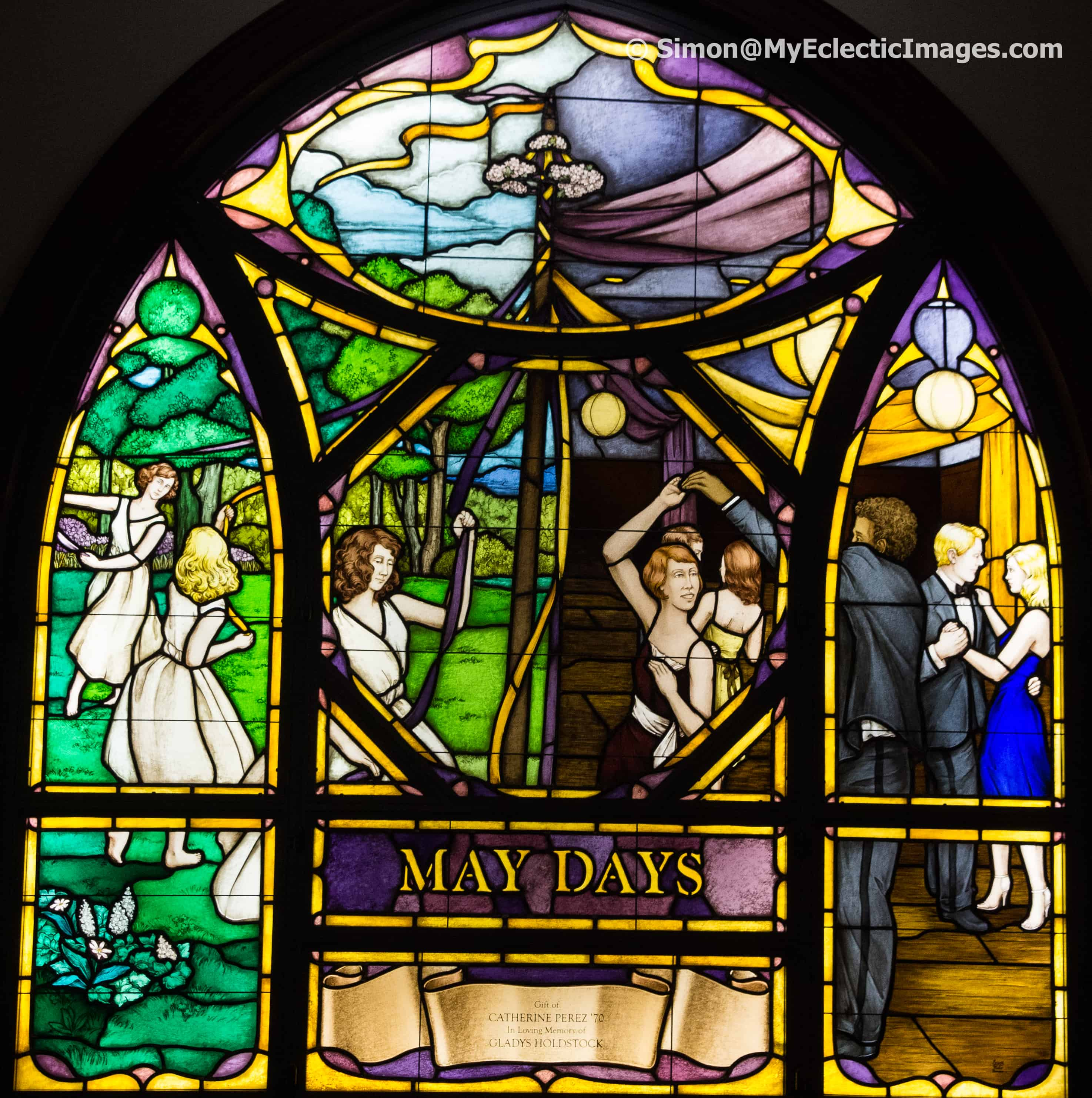 May Day celebrations in stained glass in chapel of Cowles Hall