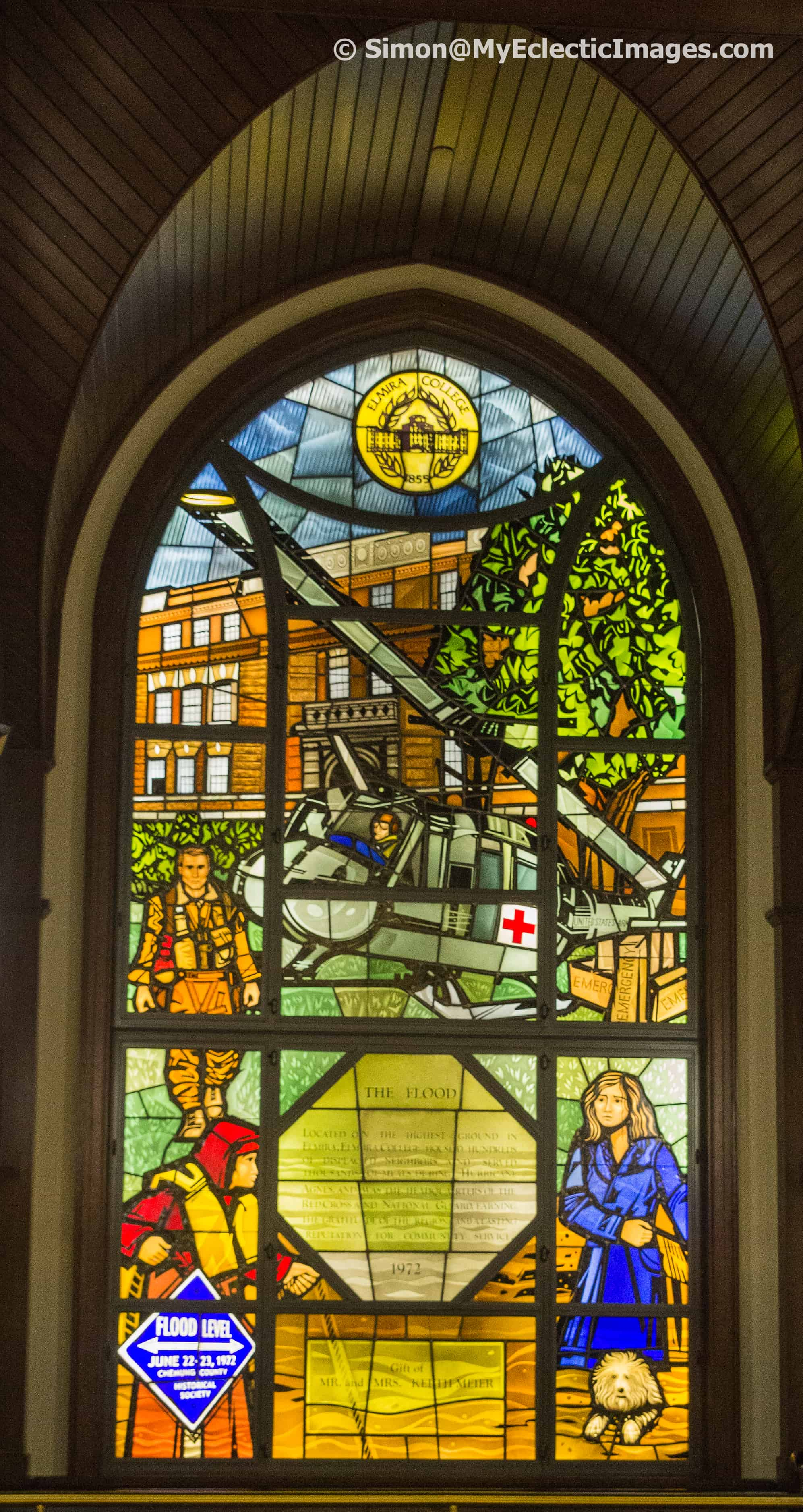 Stained glass depicting the flood of 1972 in Elmira