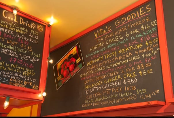 chalkboard menu Vita's Wildly Delicious Café Lopez Island