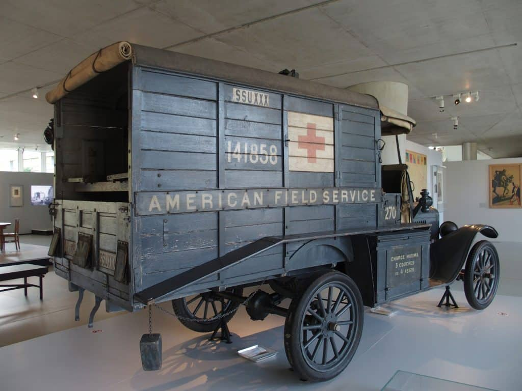 This ambulance is a part of the collection at the Franco-American Museum