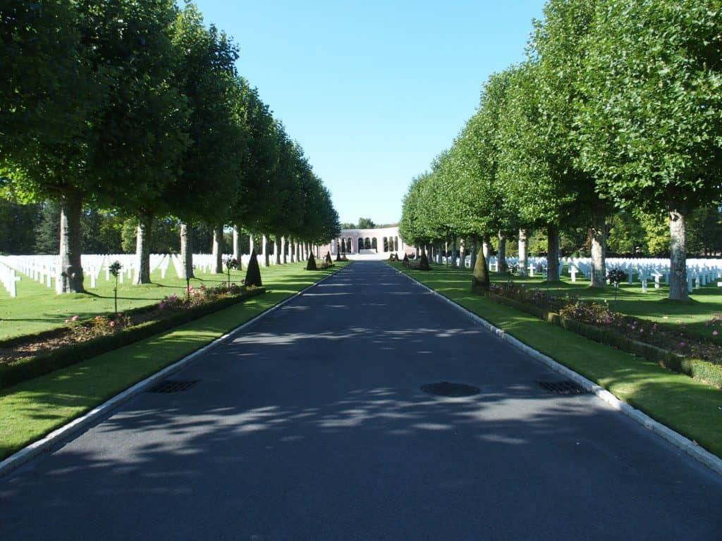 Shaded path to the chapel and memorial at the Oise-Aisne American Cemetery