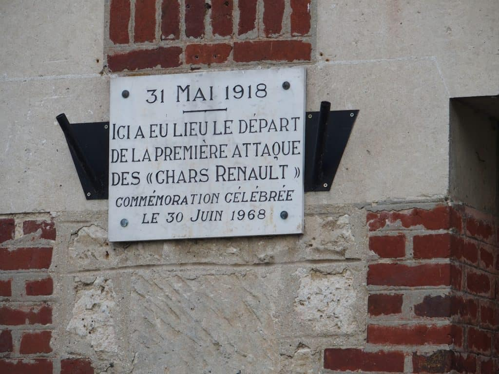 Plaque commemorating the first attack by Renault tanks in 1918